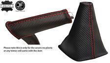 RED STITCH CARBON VINYL GEAR & HANDBRAKE HANDLE COVER FITS AUDI A3 8P 04-12