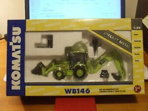 Very Rare First Gear Komatsu WB146 Backhoe with Work Tools, 1:50, BNIB
