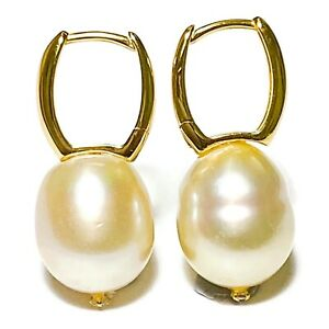 Stunning 12.5 x 14.4 mm Natural Pale Gold Australian South Sea Pearl Earrings