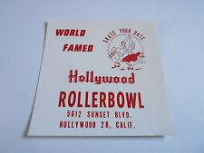 MISC-2076 VINTAGE ROLLER SKATING DECAL - HOLLYWOOD ROLLERBOWL - CALIFORNIA