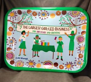 """Girl Scout 100 Year Little Brownie Baker Cookie Tray~ 15""""x11.5"""" - Flowers Green"""