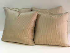"Jim Thompson Mushroom & Cream Pin Stripe Silk Throw Pillows 20"" x 20"" - Set of 4"