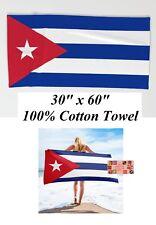 "CUBA CUBAN Flag Banner Big Oversized 30""x 60"" BEACH TOWEL COTTON BATH POOL WRAP"