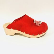 Ohio State Mule Clogs Red Wooden Spellout Buckeyes Shoes Women's Size 11 M