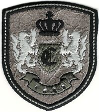 Silver Black Rampant Lion Crown Coat of Arms Crest Letter C Embroidery Patch