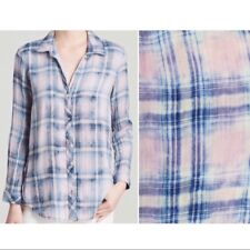 Anthropologie Cloth & Stone bleached plaid button down top sz M shirt