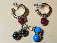 ANTIQUE  STUD EARRINGS  3 CHANGEABLE COLORS