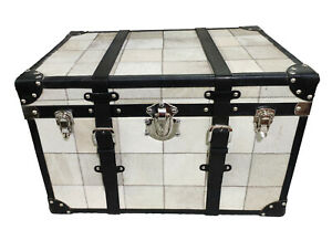Indian Handmade Designer Beautiful Gray Leather With Belts Patch Work Trunk