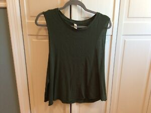 Women's Large Alo Yoga Cotton Muscle Tank Top Short Style Olive Green
