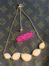 US SELLER Betsey Johnson Peach Rhinestone Gold Chain Necklace