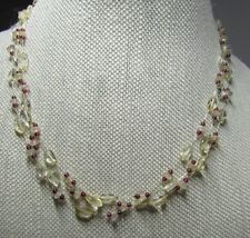 Cute 3 Strand Beaded Chocker Necklace Silver Clasp stamped 925