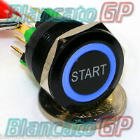 PULSANTE 22mm SPDT MONOSTABILE SIMBOLO START LED 12V BLU ILLUMINATO NERO auto