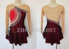 Girl Women latin chacha Ice Skating Dress Competition Ice Figure Skating red