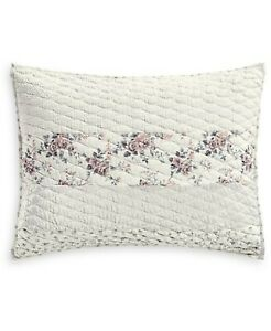 Martha Stewart STANDARD Pillow Sham Textured Floral Stripe D0Z267