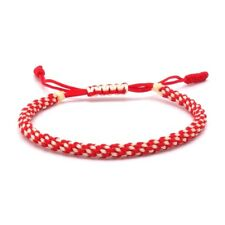 BENAVA Buddhistisches Tibet Armband Freundschaftsarmband Glücksarmband Rot Weiß