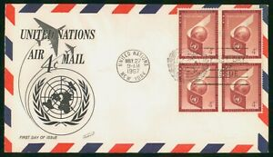 Mayfairstamps United Nations FDC 1957 UN Air Mail 4c Block First Day Cover wwp_7