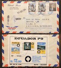 Galapagos Islands Flight Cover w/ 1979 Quito &  Galapagos Souvenir Airmail Set