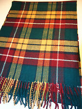 100% CASHMERE SCARF GREEN YELLOW RED COLOR PLAID SCOTTISH DESIGN UNISEX C12