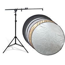 """Photo Studio Reflector Holding Arm Light Stand Kit w/ 32"""" 5in1 Collapsable Disc"""