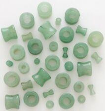 1 Pair 8g Organic Green Jade Stone Tunnels Plugs Eyelets Ear Eight Gauge 3mm