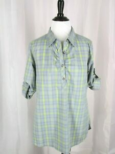 Cabelas Top Shirt Blouse Women M Gray Yellow Plaid Popover 1/4 Button 3/4 Sleeve
