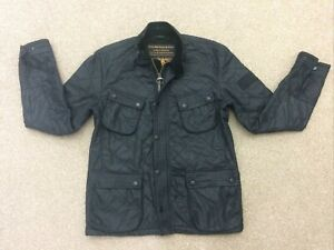 Mens Barbour International Motor Cycling Quilt Jacket Size M Black