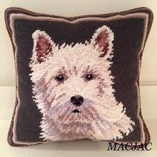 """Westie Dog Needlepoint Pillow 10""""x10"""" NWT"""
