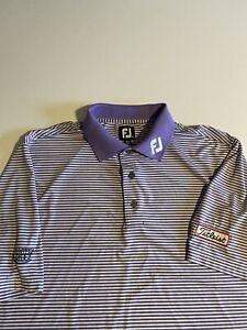 Footjoy FJ Titleist Mens L Purple Striped Hunters Ridge S/S Polo FJ On Collar