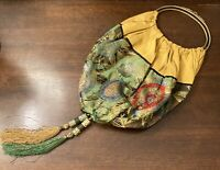 Antique Chinese Silk Purse Metal Handles With Coral