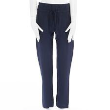 LOVE RICHARD CHAI navy blue drop crotch straight leg drawstring silk pants US0 S
