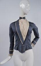 VICTORIAN 1890'S SILK BUSTLE BACK BODICE FOR DRESS W CUT STEEL BUTTON CLOSURE