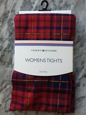 RED TARTAN WOMENS TIGHTS BY TOMMY HILFIGER,PUNK CHECK TIGHTS DESIGNER S
