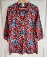 J Crew Womens 3/4 Sleeve Red Blue Floral Banded Collar Tunic Top Shirt size XS