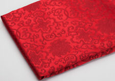 "WHOLESALE BY 4 YARDS X 28""  TIBETAN DAMASK BROCADE FABRIC : FLORAL DORJE LOTUS -"