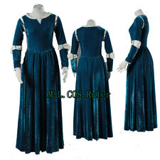 NEW ARRIVAL Brave Princess Merida Cosplay Costume Fancy Blue Dress Halloween