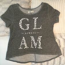 Abercrombie & Fitch Kids Girls Blouse Top Gray Pink Glam Size Large