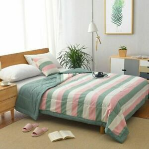 Summer Washed Cotton Air-conditioning Quilt  Blanket Thin Stripe Plaid Bed Cover