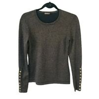 J Mclaughlin Sweater Black Gold Metallic Button Cuff Evening Cocktail Holiday XS