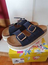 Joules Womens PORTA Jute Detail Sliders Sandals Navy Size 6