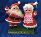 50s/60s era  Flocked Waving Santa & Mrs Claus Christmas decoration  VTG EUC