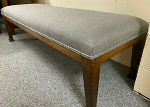 HUGE Dining Bench Reupholstered Grey Country FarmHouse Solid Oak Arts & Crafts