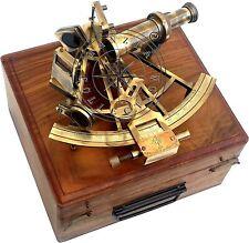 "Nautical Henry Barrow & Co. London 8"" Brass Ship Sextant with Hardwood Box"