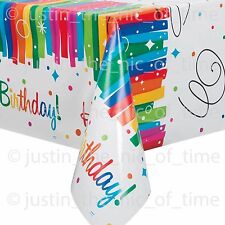Plastic Rainbow Ribbons Birthday Tablecloth 7ft X 4.5ft