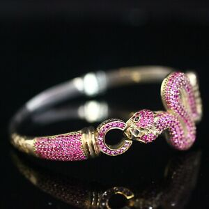 925 Sterling Silver Handmade Authetic Turkish Snake Ruby Ladies Bracelet Cuff