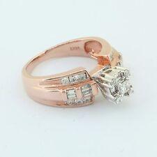 14K Rose Gold 3/4 CT Round Baguette & Princess Cut Diamond Engagement Ring Set