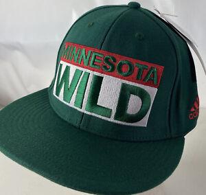 Adidas Minnesota Wild Hat Cap Big Spellout Logo NHL Sz L/XL Sewn Flat Flex Green