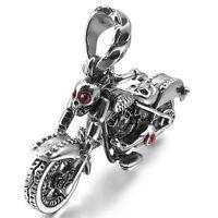 MENDINO Men's Stainless Steel Pendant Necklace Zircon Skull Fleur Skeleton Motor