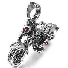MENDINO Men's Stainless Steel Pendant Necklace Skull Knight Wing Skeleton Motor