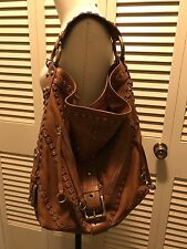 Authentic Isabella Fiore Carina Large Studded Hobo Shoulder Bag, Brown, $795