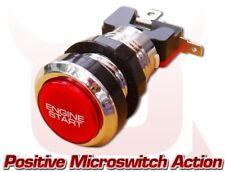 Rosso e Cromo Auto Motore Push PRESS START STARTER Pulsante Momentaneo LED acceso